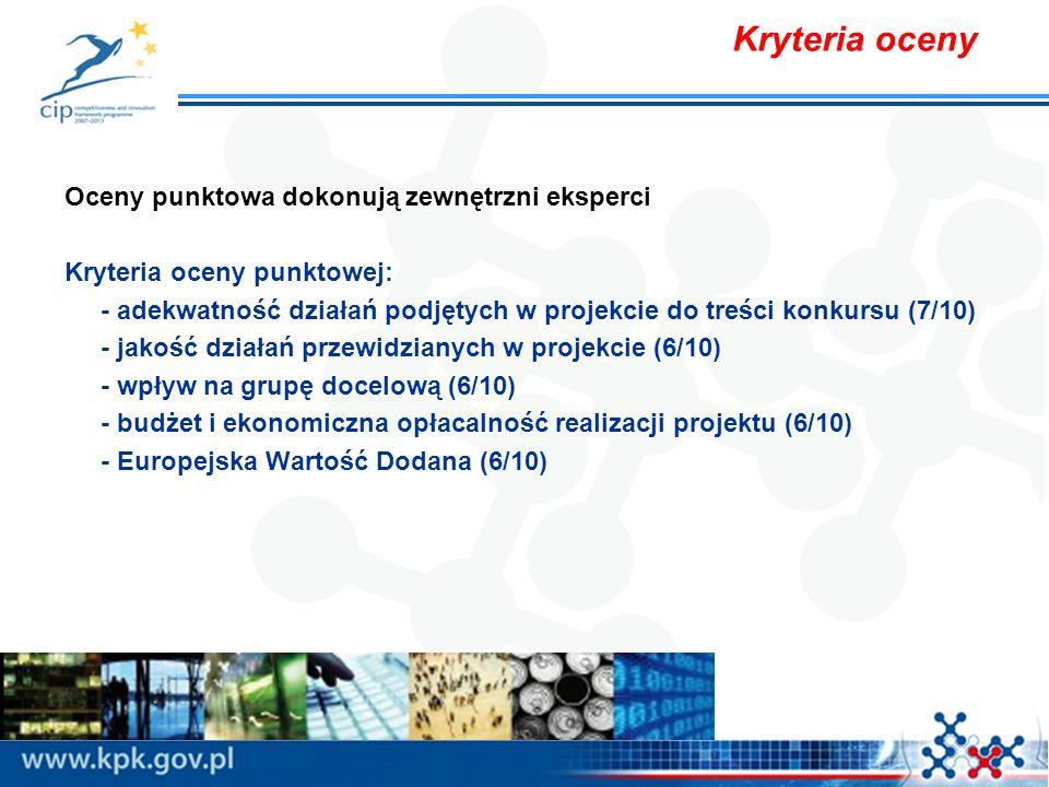 Kryteria oceny Oceny punktowa dokonują zewnętrzni eksperci Kryteria oceny punktowej: - adekwatność działań podjętych w projekcie do treści konkursu (7/10) - jakość działań przewidzianych w projekcie (6/10) - wpływ na grupę docelową (6/10) - budżet i ekonomiczna opłacalność realizacji projektu (6/10) - Europejska Wartość Dodana (6/10)