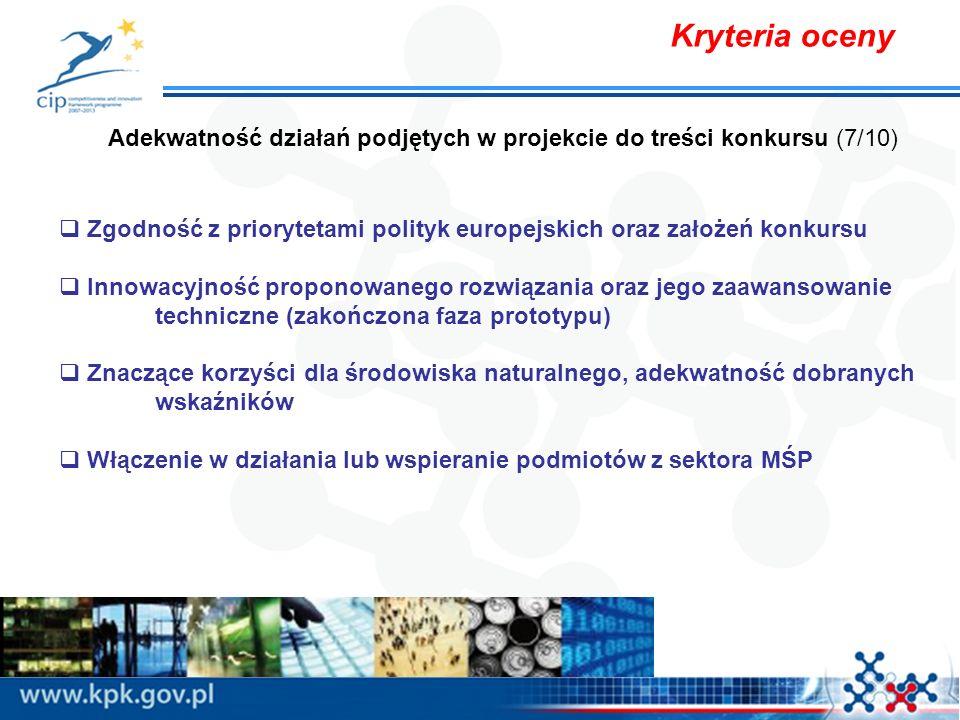 Kryteria oceny Adekwatność działań podjętych w projekcie do treści konkursu (7/10) Zgodność z priorytetami polityk europejskich oraz założeń konkursu Innowacyjność proponowanego rozwiązania oraz jego zaawansowanie techniczne (zakończona faza prototypu) Znaczące korzyści dla środowiska naturalnego, adekwatność dobranych wskaźników Włączenie w działania lub wspieranie podmiotów z sektora MŚP
