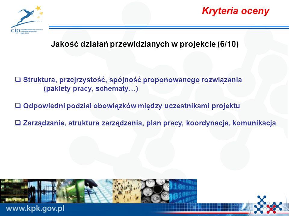 Kryteria oceny Jakość działań przewidzianych w projekcie (6/10) Struktura, przejrzystość, spójność proponowanego rozwiązania (pakiety pracy, schematy…