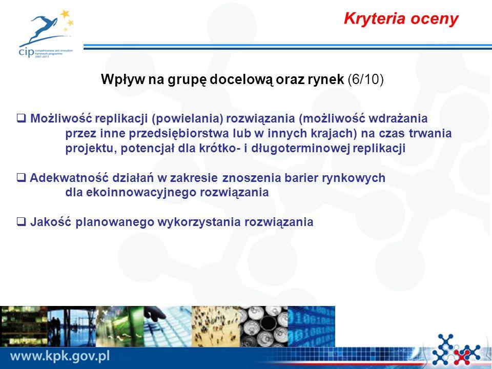 Kryteria oceny Wpływ na grupę docelową oraz rynek (6/10) Możliwość replikacji (powielania) rozwiązania (możliwość wdrażania przez inne przedsiębiorstw