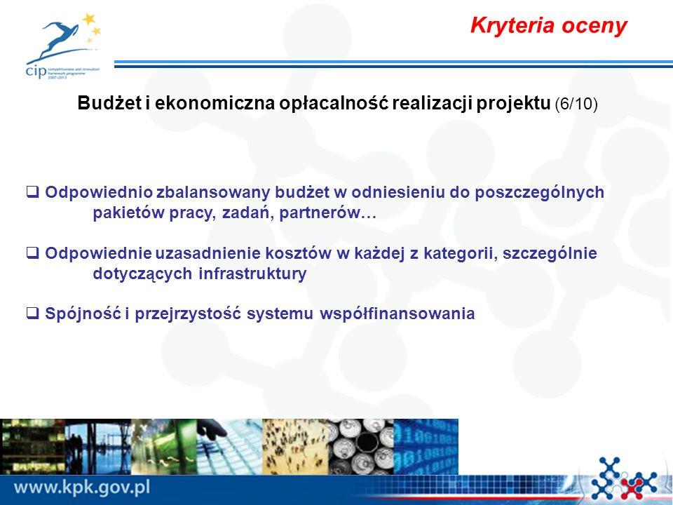 Kryteria oceny Budżet i ekonomiczna opłacalność realizacji projektu (6/10) Odpowiednio zbalansowany budżet w odniesieniu do poszczególnych pakietów pracy, zadań, partnerów… Odpowiednie uzasadnienie kosztów w każdej z kategorii, szczególnie dotyczących infrastruktury Spójność i przejrzystość systemu współfinansowania