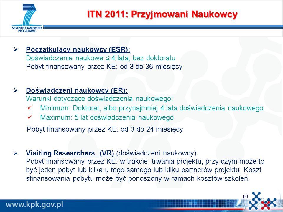 10 ITN 2011: Przyjmowani Naukowcy Początkujący naukowcy (ESR): Doświadczenie naukowe 4 lata, bez doktoratu Pobyt finansowany przez KE: od 3 do 36 mies
