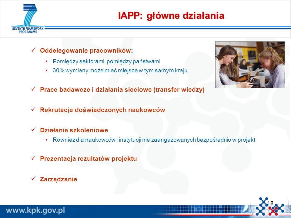 18 IAPP: główne działania Oddelegowanie pracowników: Pomiędzy sektorami, pomiędzy państwami 30% wymiany może mieć miejsce w tym samym kraju Prace bada