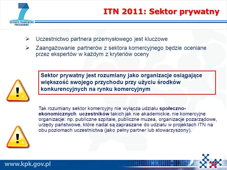 ITN 2011: Sektor prywatny Uczestnictwo partnera przemysłowego jest kluczowe Zaangażowanie partnerów z sektora komercyjnego będzie oceniane przez ekspe