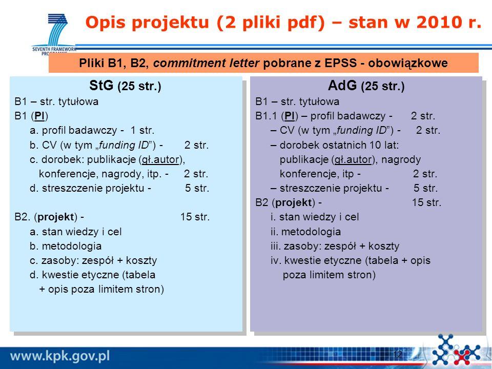 12 Opis projektu (2 pliki pdf) – stan w 2010 r. StG (25 str.) B1 – str.