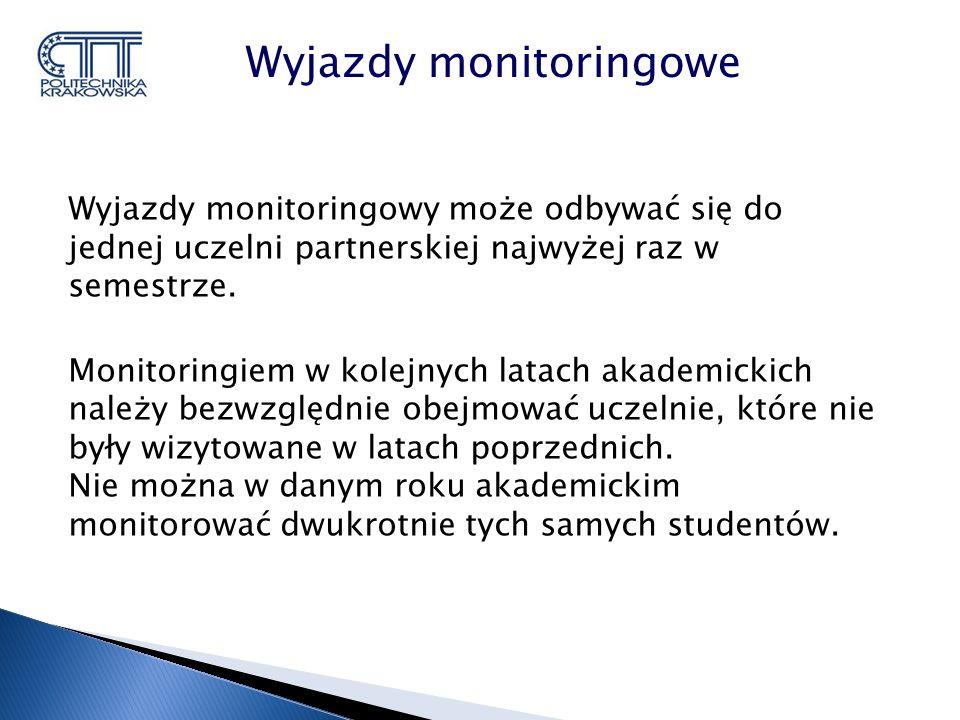 Wyjazdy monitoringowy może odbywać się do jednej uczelni partnerskiej najwyżej raz w semestrze.
