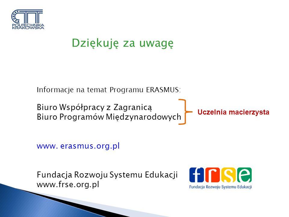 Informacje na temat Programu ERASMUS: Biuro Współpracy z Zagranicą Biuro Programów Międzynarodowych www.