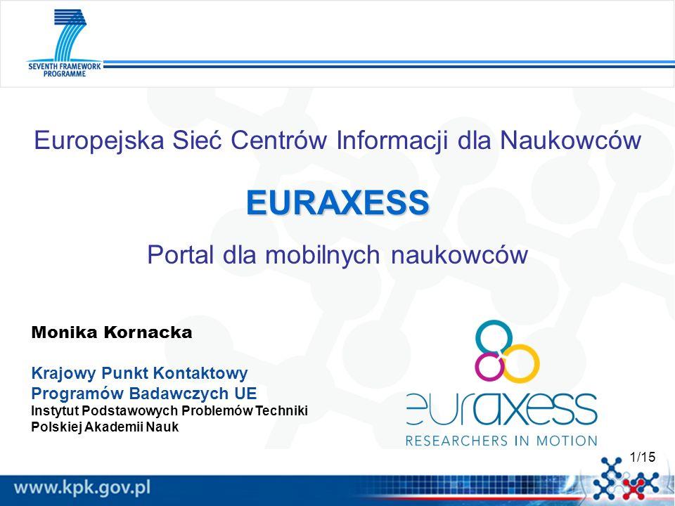 1/15 EURAXESS Europejska Sieć Centrów Informacji dla Naukowców EURAXESS Portal dla mobilnych naukowców Monika Kornacka Krajowy Punkt Kontaktowy Progra