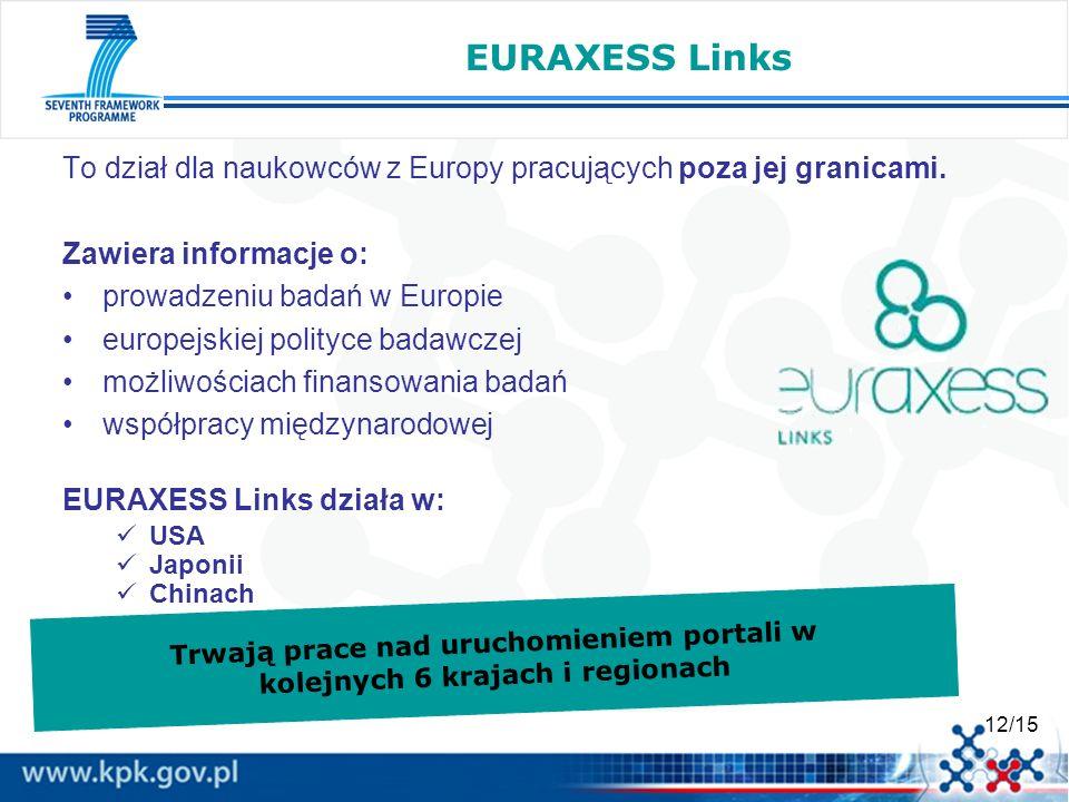 12/15 EURAXESS Links To dział dla naukowców z Europy pracujących poza jej granicami. Zawiera informacje o: prowadzeniu badań w Europie europejskiej po