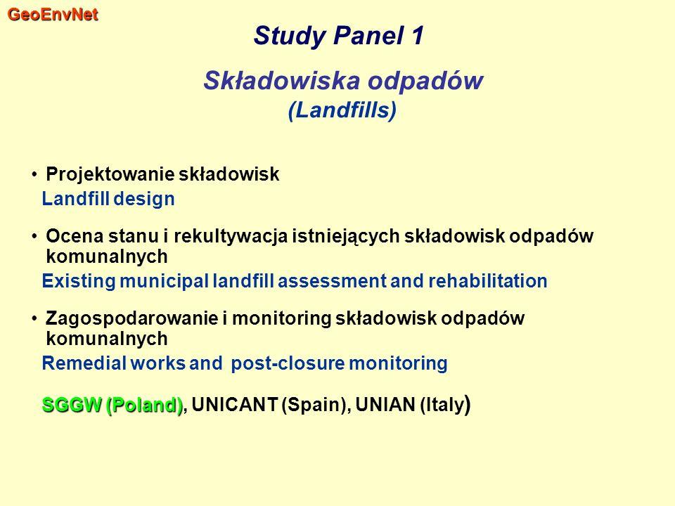 Study Panel 1 Składowiska odpadów (Landfills) Projektowanie składowisk Landfill design Ocena stanu i rekultywacja istniejących składowisk odpadów komu