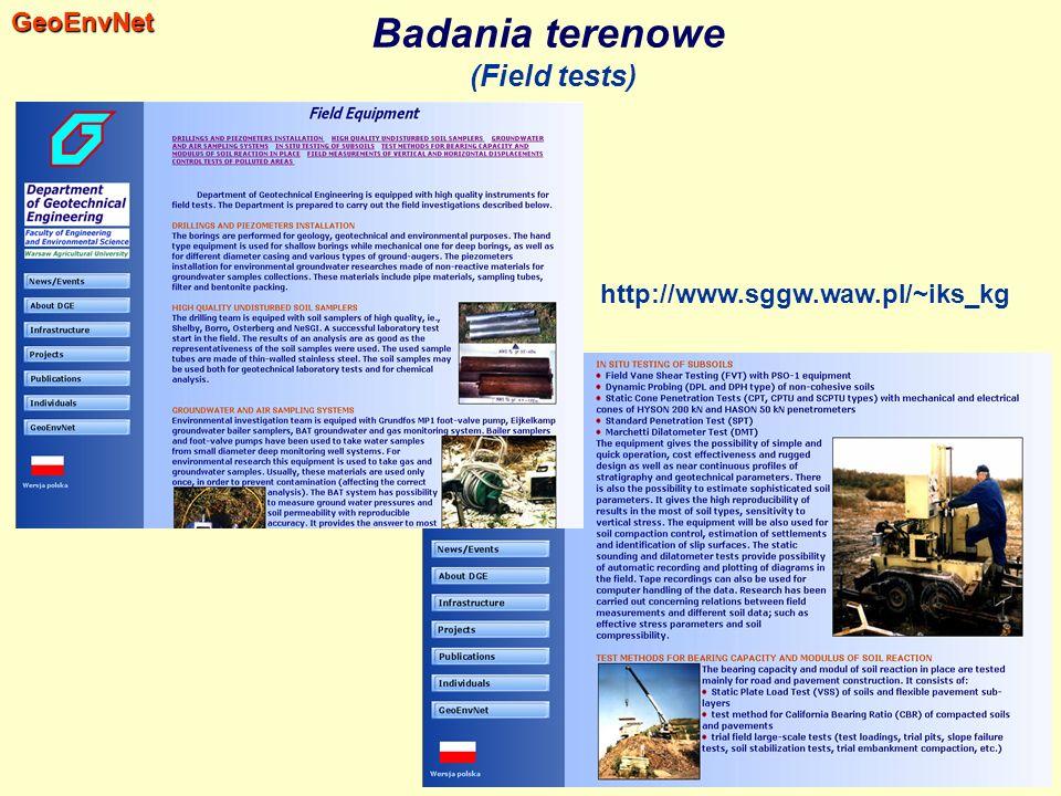 Badania terenowe (Field tests)GeoEnvNet http://www.sggw.waw.pl/~iks_kg