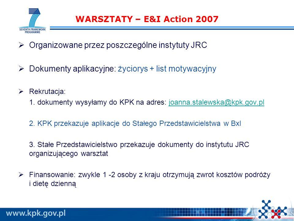 WARSZTATY – E&I Action 2007 Organizowane przez poszczególne instytuty JRC Dokumenty aplikacyjne: życiorys + list motywacyjny Rekrutacja: 1.