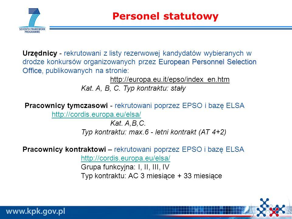 Personel statutowy icy European Personnel Selection Office Urzędnicy - rekrutowani z listy rezerwowej kandydatów wybieranych w drodze konkursów organizowanych przez European Personnel Selection Office, publikowanych na stronie: http://europa.eu.it/epso/index_en.htm Kat.