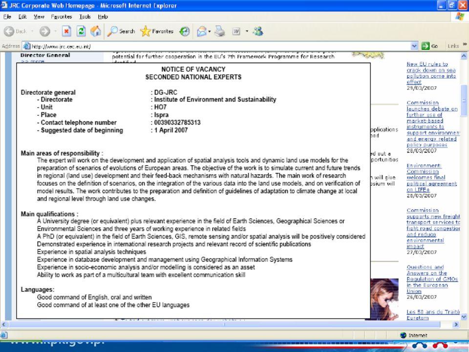 JRC w 7.Programie Ramowym JRC w 7PR: JRC w 7PR: Działania główne JRC: Żywność, Produkty Chemiczne i Zdrowie (Instytuty: IRMM, IHCP, IPTS) Środowisko i Zrównoważony Rozwój (Instytuty: IES, IE, IPTS i IHCP) Bezpieczeństwo (Instytuty: ITU, IE, IRMM i IPSC) Działania horyzontalne JRC : Analizy techno-ekonomiczne (Instytut IPTS) Materiały Odniesienia i Pomiarów (Instytut IRMM) Bezpieczeństwo publiczne i zapobieganie oszustwom finansowym (Instytuty: IPSC, IES, IPTS) W 7PR brak znaczących zmian w zakresie form współpracy dla indywidualnych naukowców, w porównaniu z 6PR Nacisk na współprace i budowanie powiązań naukowych w ramach współpracy instytucjonalnej