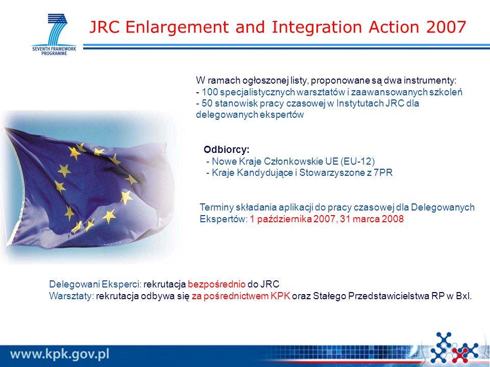 JRC Enlargement and Integration Action 2007 W ramach ogłoszonej listy, proponowane są dwa instrumenty: - 100 specjalistycznych warsztatów i zaawansowanych szkoleń - 50 stanowisk pracy czasowej w Instytutach JRC dla delegowanych ekspertów Odbiorcy: - Nowe Kraje Członkowskie UE (EU-12) - Kraje Kandydujące i Stowarzyszone z 7PR Terminy składania aplikacji do pracy czasowej dla Delegowanych Ekspertów: 1 października 2007, 31 marca 2008 Delegowani Eksperci: rekrutacja bezpośrednio do JRC Warsztaty: rekrutacja odbywa się za pośrednictwem KPK oraz Stałego Przedstawicielstwa RP w Bxl.