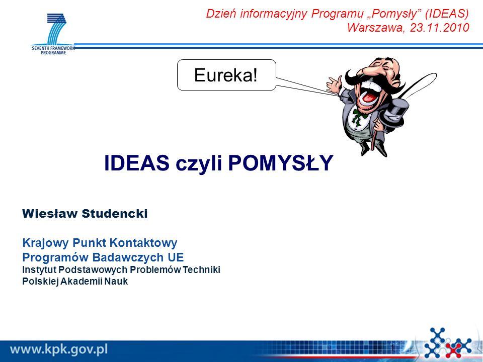 1 IDEAS czyli POMYSŁY Eureka! Dzień informacyjny Programu Pomysły (IDEAS) Warszawa, 23.11.2010 Wiesław Studencki Krajowy Punkt Kontaktowy Programów Ba