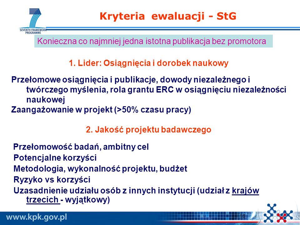 16 Kryteria ewaluacji - StG 1. Lider: Osiągnięcia i dorobek naukowy Przełomowe osiągnięcia i publikacje, dowody niezależnego i twórczego myślenia, rol