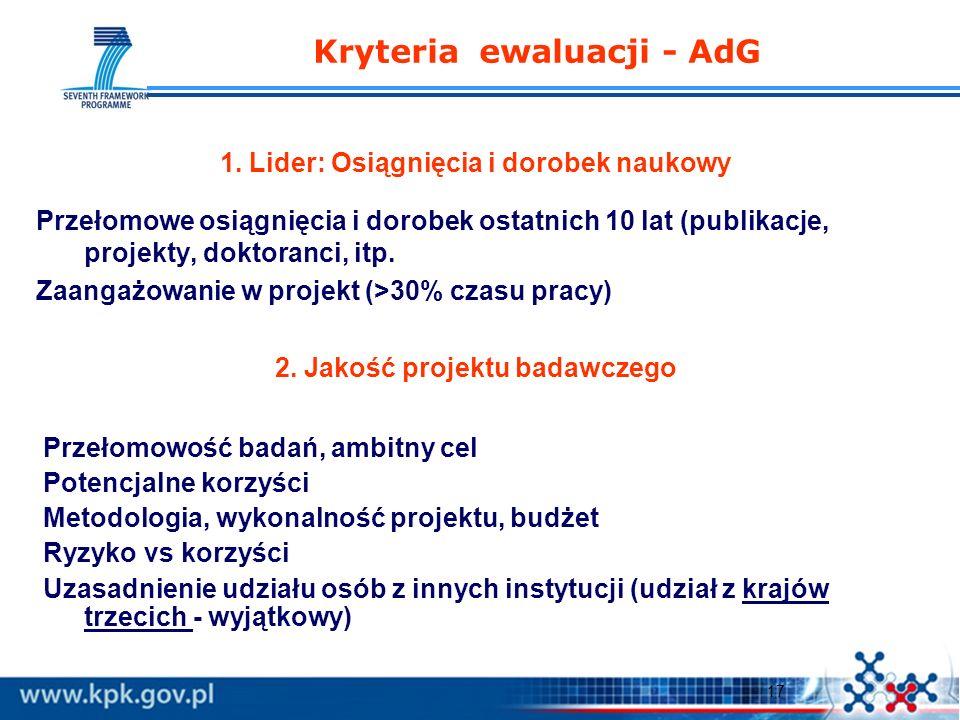 17 Kryteria ewaluacji - AdG 1. Lider: Osiągnięcia i dorobek naukowy Przełomowe osiągnięcia i dorobek ostatnich 10 lat (publikacje, projekty, doktoranc