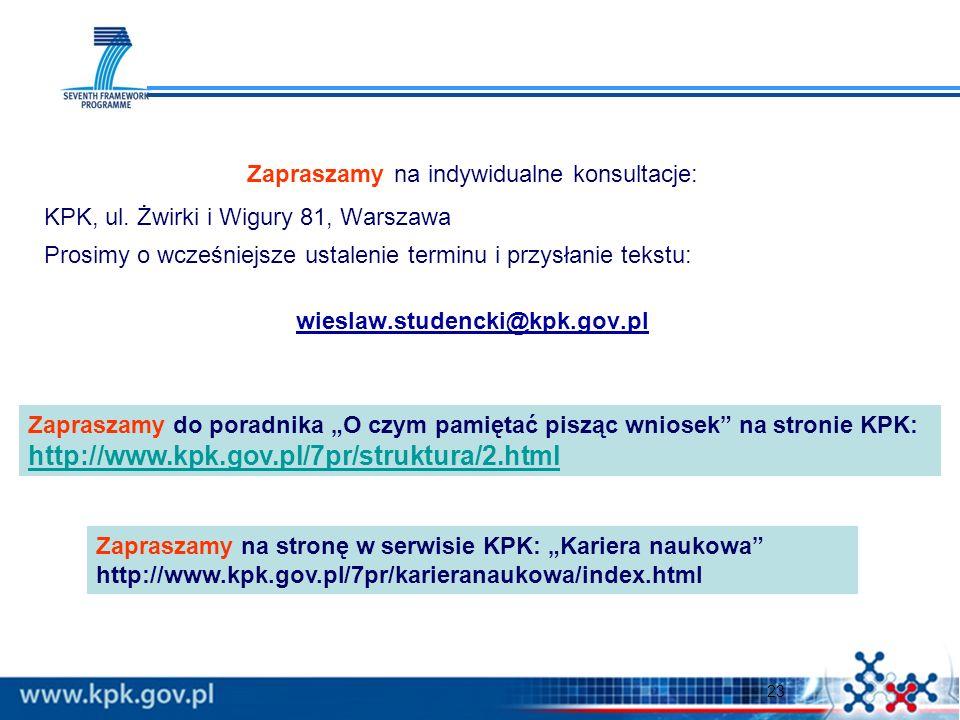 23 Zapraszamy na indywidualne konsultacje: KPK, ul. Żwirki i Wigury 81, Warszawa Prosimy o wcześniejsze ustalenie terminu i przysłanie tekstu: wieslaw