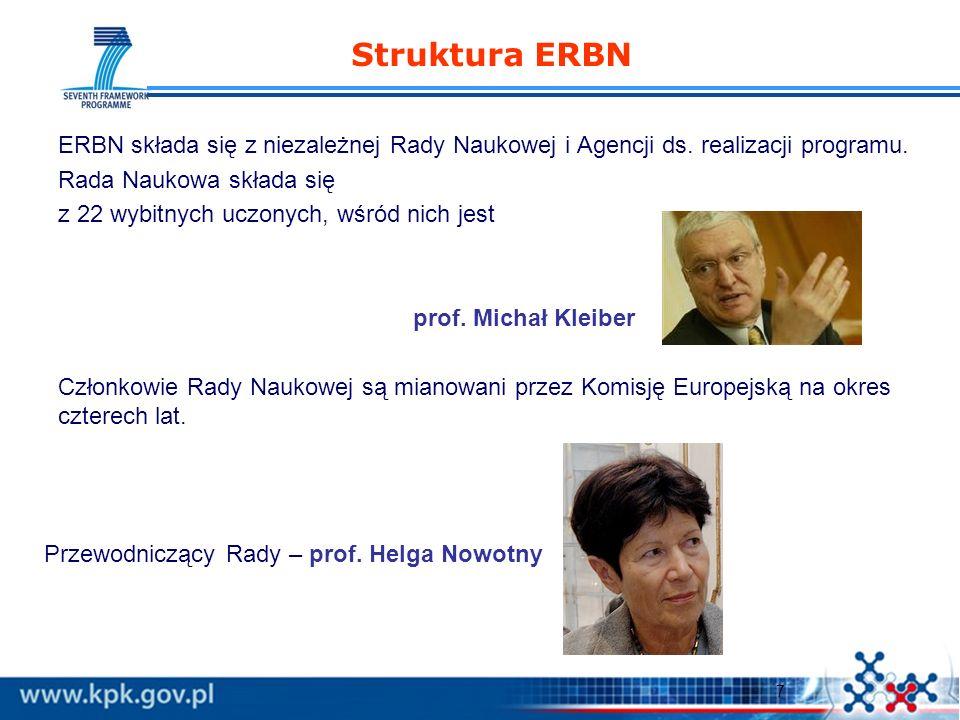 7 Struktura ERBN ERBN składa się z niezależnej Rady Naukowej i Agencji ds. realizacji programu. Rada Naukowa składa się z 22 wybitnych uczonych, wśród