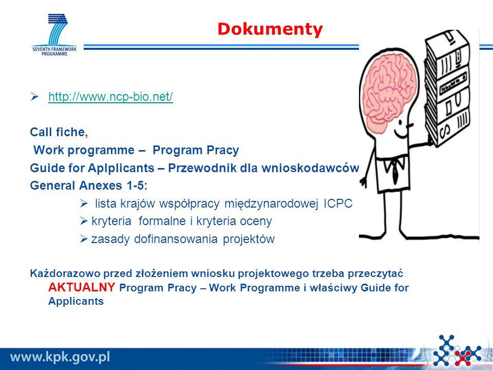 Dokumenty http://www.ncp-bio.net/ Call fiche, Work programme – Program Pracy Guide for Aplplicants – Przewodnik dla wnioskodawców General Anexes 1-5:
