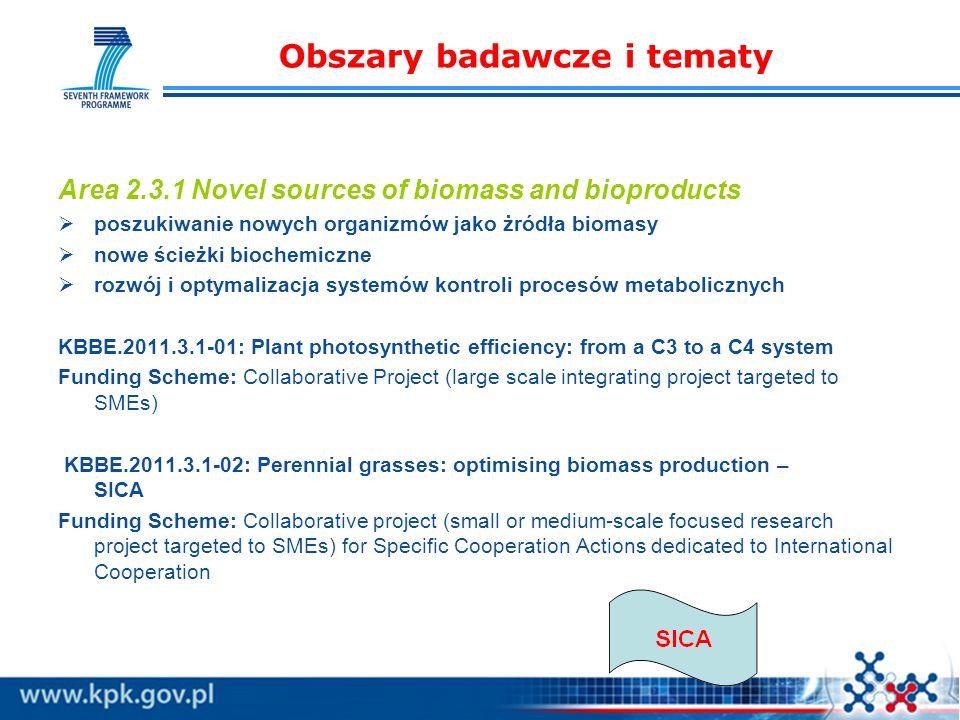 Obszary badawcze i tematy Area 2.3.1 Novel sources of biomass and bioproducts poszukiwanie nowych organizmów jako żródła biomasy nowe ścieżki biochemiczne rozwój i optymalizacja systemów kontroli procesów metabolicznych KBBE.2011.3.1-01: Plant photosynthetic efficiency: from a C3 to a C4 system Funding Scheme: Collaborative Project (large scale integrating project targeted to SMEs) KBBE.2011.3.1-02: Perennial grasses: optimising biomass production – SICA Funding Scheme: Collaborative project (small or medium-scale focused research project targeted to SMEs) for Specific Cooperation Actions dedicated to International Cooperation