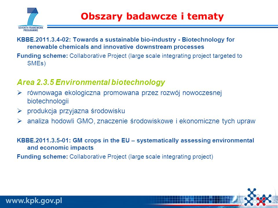 Obszary badawcze i tematy KBBE.2011.3.4-02: Towards a sustainable bio-industry - Biotechnology for renewable chemicals and innovative downstream proce