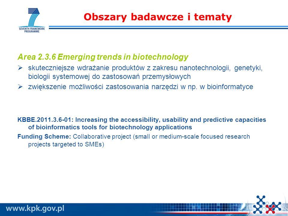 Obszary badawcze i tematy Area 2.3.6 Emerging trends in biotechnology skuteczniejsze wdrażanie produktów z zakresu nanotechnologii, genetyki, biologii systemowej do zastosowań przemysłowych zwiększenie możliwości zastosowania narzędzi w np.