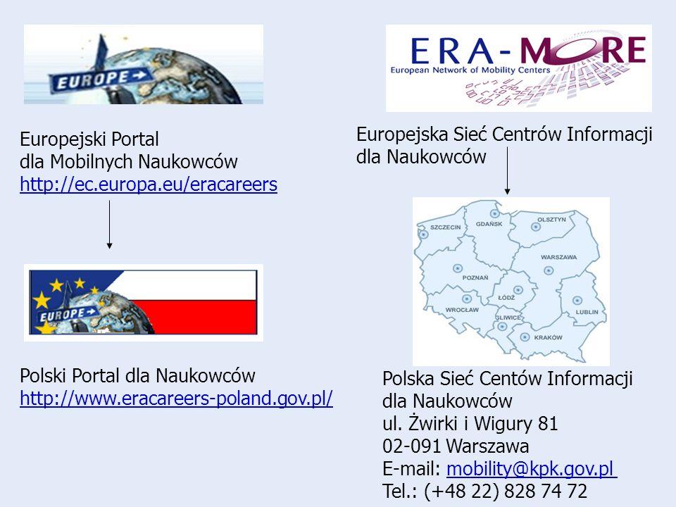 Europejski Portal dla Mobilnych Naukowców http://ec.europa.eu/eracareers Europejska Sieć Centrów Informacji dla Naukowców Polski Portal dla Naukowców http://www.eracareers-poland.gov.pl/ Polska Sieć Centów Informacji dla Naukowców ul.