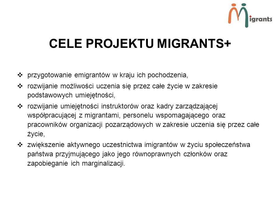 CELE PROJEKTU MIGRANTS+ przygotowanie emigrantów w kraju ich pochodzenia, rozwijanie możliwości uczenia się przez całe życie w zakresie podstawowych umiejętności, rozwijanie umiejętności instruktorów oraz kadry zarządzającej współpracującej z migrantami, personelu wspomagającego oraz pracowników organizacji pozarządowych w zakresie uczenia się przez całe życie, zwiększenie aktywnego uczestnictwa imigrantów w życiu społeczeństwa państwa przyjmującego jako jego równoprawnych członków oraz zapobieganie ich marginalizacji.