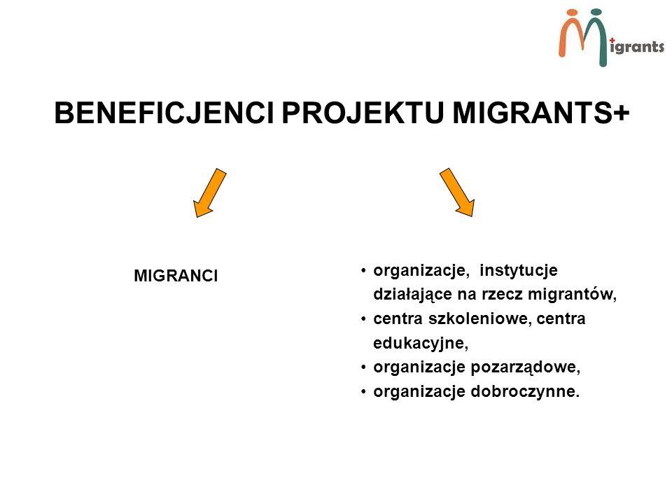 BENEFICJENCI PROJEKTU MIGRANTS+ MIGRANCI organizacje, instytucje działające na rzecz migrantów, centra szkoleniowe, centra edukacyjne, organizacje pozarządowe, organizacje dobroczynne.
