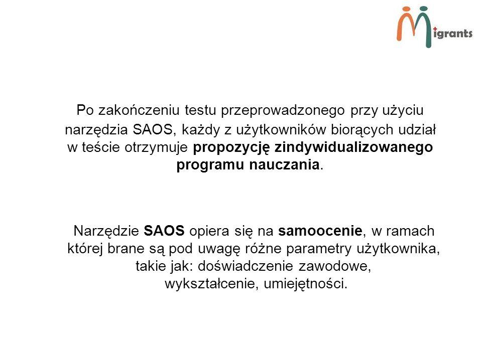 Po zakończeniu testu przeprowadzonego przy użyciu narzędzia SAOS, każdy z użytkowników biorących udział w teście otrzymuje propozycję zindywidualizowanego programu nauczania.