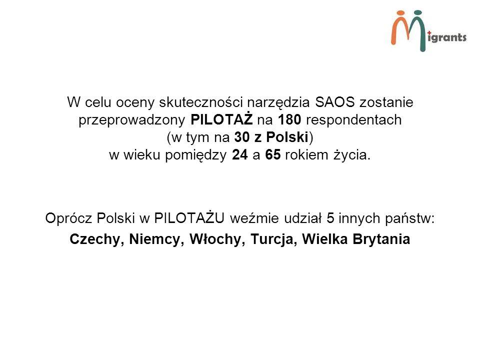 W celu oceny skuteczności narzędzia SAOS zostanie przeprowadzony PILOTAŻ na 180 respondentach (w tym na 30 z Polski) w wieku pomiędzy 24 a 65 rokiem życia.