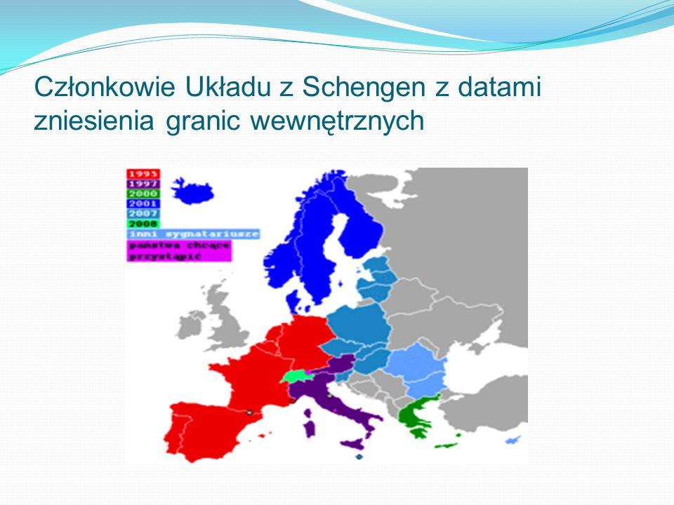 Członkowie Układu z Schengen z datami zniesienia granic wewnętrznych
