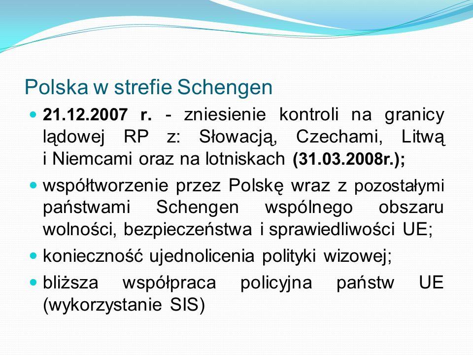 Polska w strefie Schengen 21.12.2007 r. - zniesienie kontroli na granicy lądowej RP z: Słowacją, Czechami, Litwą i Niemcami oraz na lotniskach (31.03.