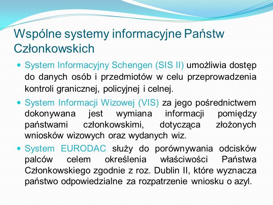 Wspólne systemy informacyjne Państw Członkowskich System Informacyjny Schengen (SIS II) umożliwia dostęp do danych osób i przedmiotów w celu przeprowa