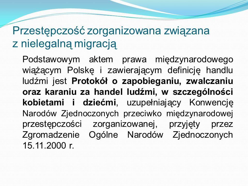Przestępczość zorganizowana związana z nielegalną migracją Podstawowym aktem prawa międzynarodowego wiążącym Polskę i zawierającym definicję handlu lu