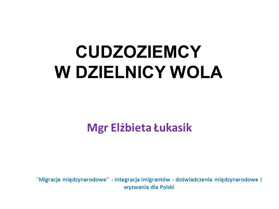 CUDZOZIEMCY W DZIELNICY WOLA Mgr Elżbieta Łukasik