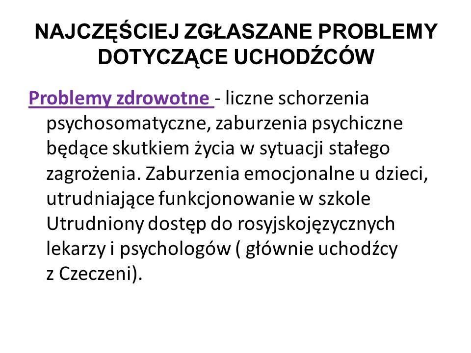 NAJCZĘŚCIEJ ZGŁASZANE PROBLEMY DOTYCZĄCE UCHODŹCÓW Problemy zdrowotne - liczne schorzenia psychosomatyczne, zaburzenia psychiczne będące skutkiem życi