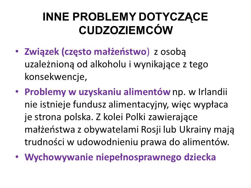 INNE PROBLEMY DOTYCZĄCE CUDZOZIEMCÓW Związek (często małżeństwo) z osobą uzależnioną od alkoholu i wynikające z tego konsekwencje, Problemy w uzyskani