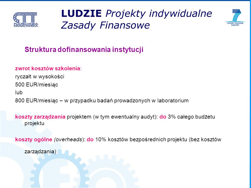 LUDZIE Projekty indywidualne Zasady Finansowe Struktura dofinansowania instytucji zwrot kosztów szkolenia: ryczałt w wysokości 500 EUR/miesiąc lub 800