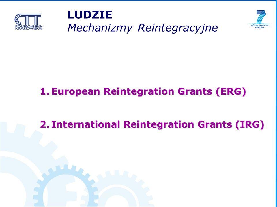 LUDZIE Mechanizmy Reintegracyjne 1.European Reintegration Grants (ERG) 2.International Reintegration Grants (IRG)