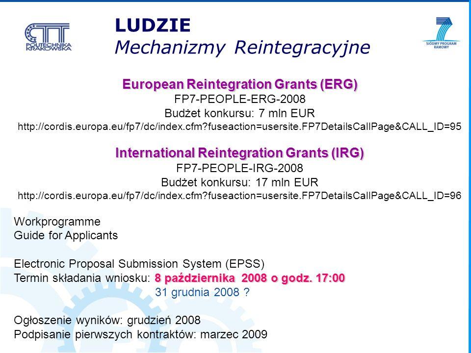 European Reintegration Grants (ERG) FP7-PEOPLE-ERG-2008 Budżet konkursu: 7 mln EUR http://cordis.europa.eu/fp7/dc/index.cfm?fuseaction=usersite.FP7Det