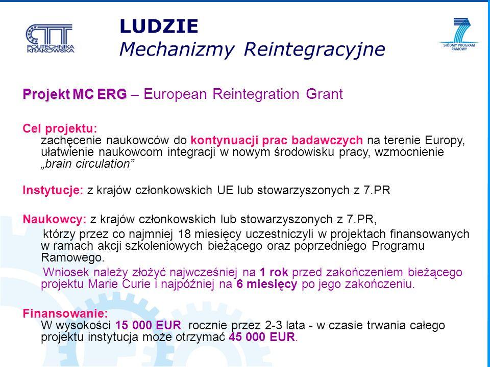 Projekt MC ERG Projekt MC ERG – European Reintegration Grant Cel projektu: zachęcenie naukowców do kontynuacji prac badawczych na terenie Europy, ułat