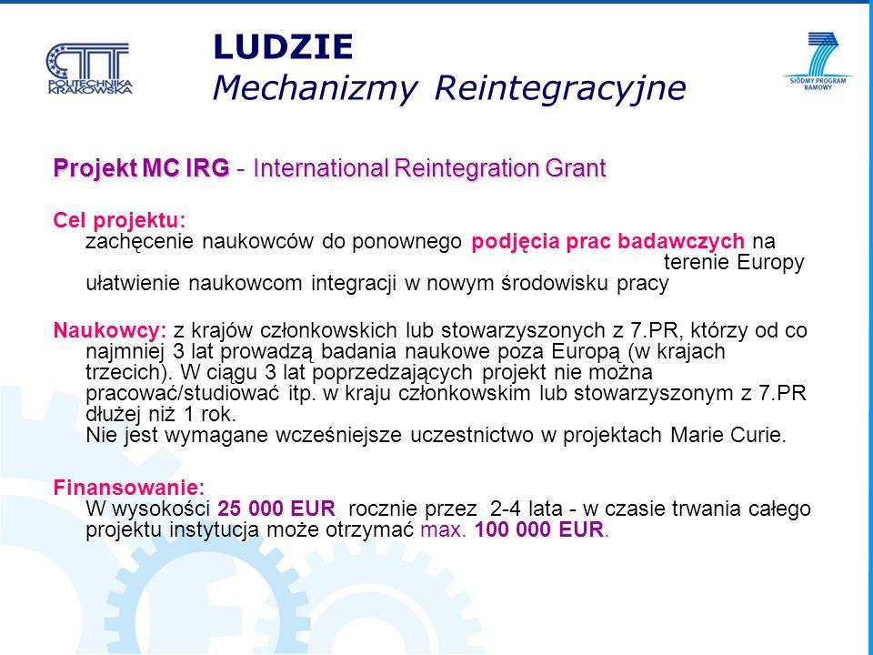 LUDZIE Mechanizmy Reintegracyjne Projekt MC IRGInternational Reintegration Grant Projekt MC IRG - International Reintegration Grant Cel projektu: zach