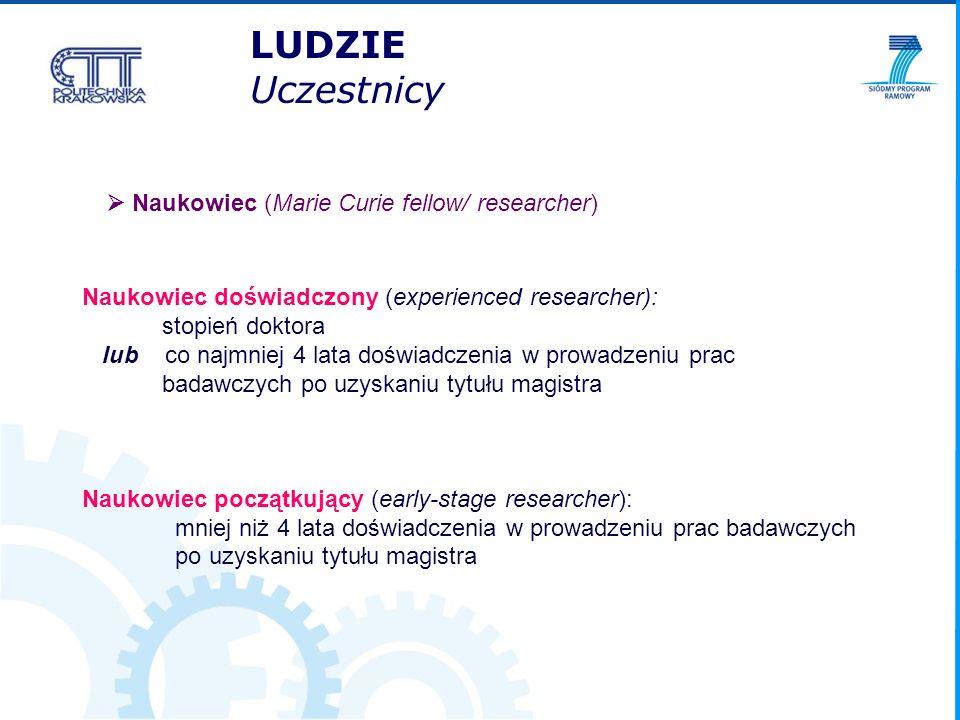 Naukowiec (Marie Curie fellow/ researcher) Naukowiec doświadczony (experienced researcher): stopień doktora lub co najmniej 4 lata doświadczenia w pro