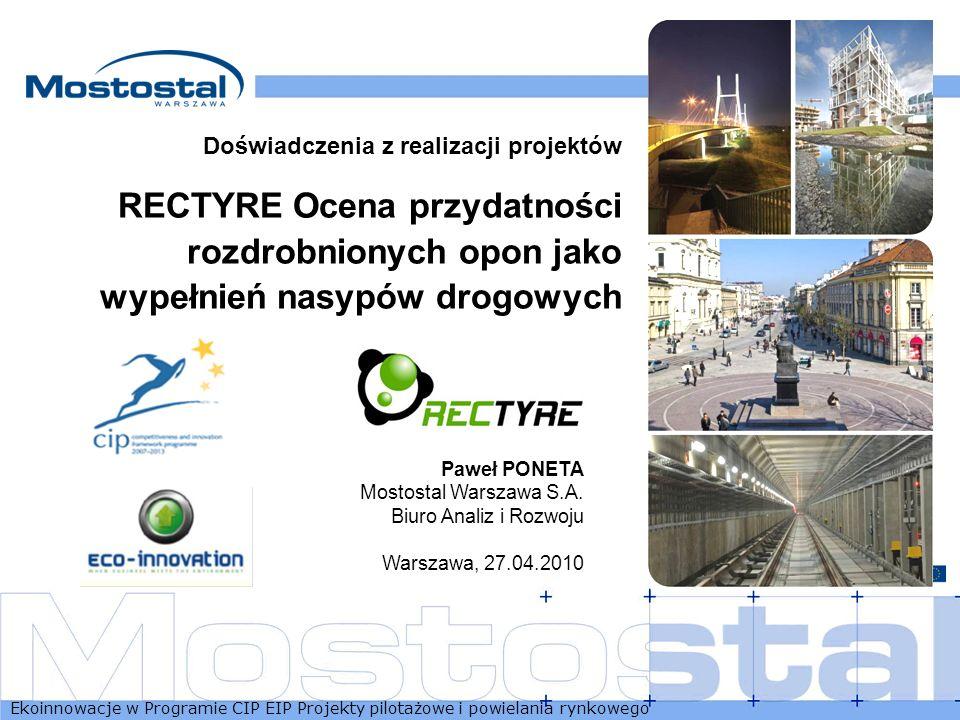 Ekoinnowacje w Programie CIP EIP Projekty pilotażowe i powielania rynkowego 1 Doświadczenia z realizacji projektów RECTYRE Ocena przydatności rozdrobn