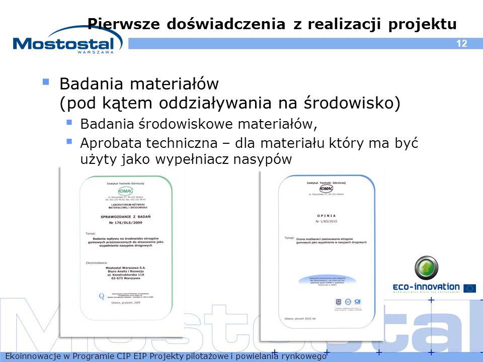 Ekoinnowacje w Programie CIP EIP Projekty pilotażowe i powielania rynkowego 12 Pierwsze doświadczenia z realizacji projektu Badania materiałów (pod ką