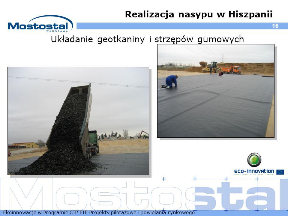 Ekoinnowacje w Programie CIP EIP Projekty pilotażowe i powielania rynkowego 16 Realizacja nasypu w Hiszpanii Układanie geotkaniny i strzępów gumowych