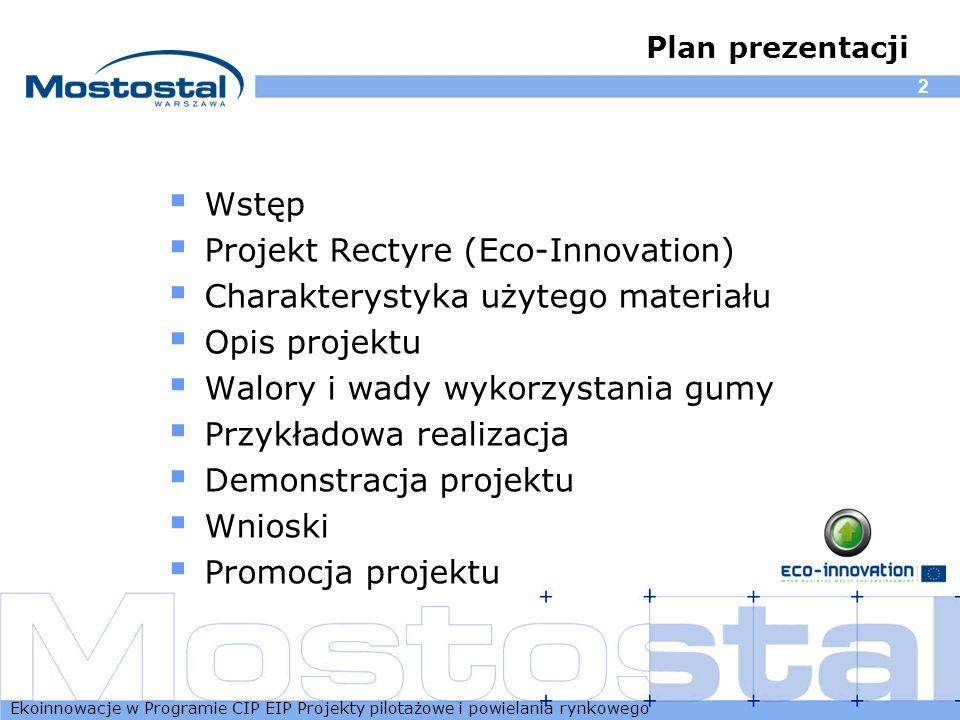 Ekoinnowacje w Programie CIP EIP Projekty pilotażowe i powielania rynkowego 2 Plan prezentacji Wstęp Projekt Rectyre (Eco-Innovation) Charakterystyka